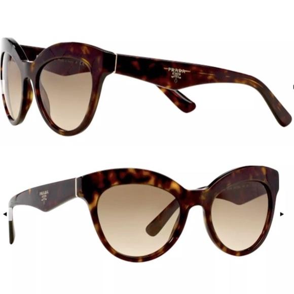 10d54969103e NEW Prada Womens Sunglasses Havana Cat Eye. M 5a46952f331627923d11e392